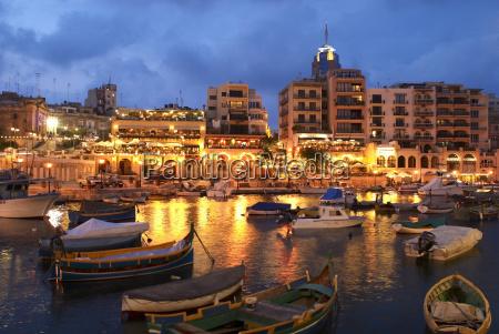 evening across spinola bay with restaurants