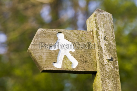 footpath sign chedworth gloucestershire united kingdom