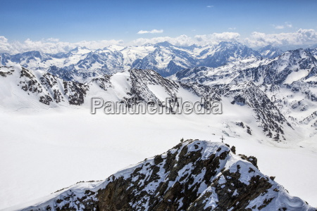 aerial view of alpine skiers on