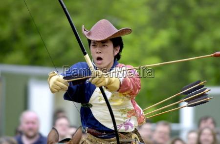 japanese horseman giving a traditional display
