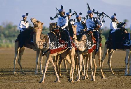 royal mounted band playing bagpipes oman