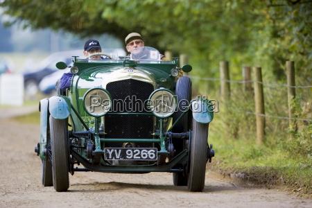 vintage bentley convertible sports car being