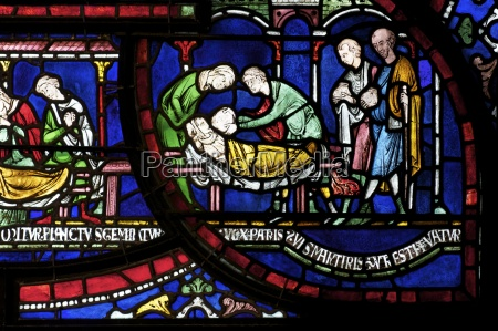 medieval stained glass depicting the plague