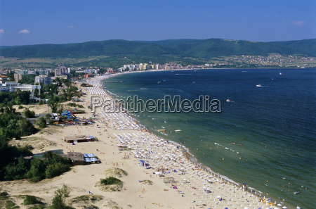 aerial view over beach sunny beach
