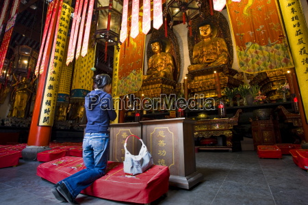 woman prays to golden buddhas in
