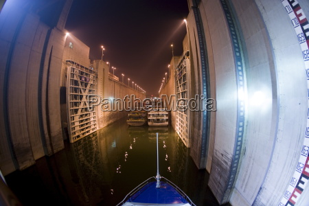 cruise liner in lock at three