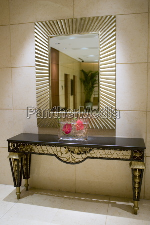 mirror and console table in the