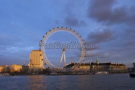 london eye river thames and city