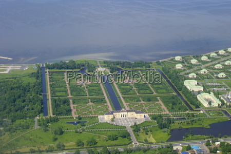 aerial view of constantine palace strelna