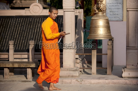 buddhist monk at sri lankan buddhist