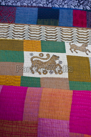 indian patchwork quilt with tiger motif