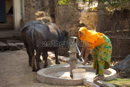 indian woman villager pumping water from