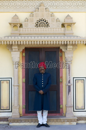 palace guard in achkan suit at