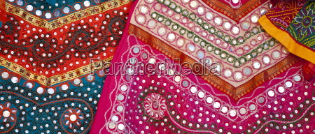 traditional muslim garments on display at