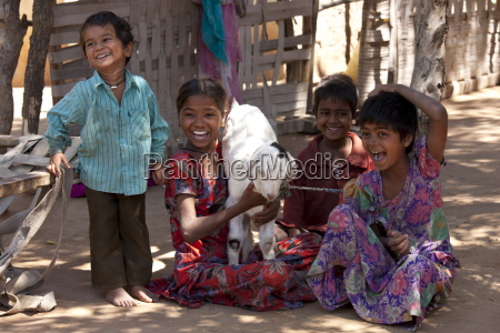 happy indian children in typical rajasthani