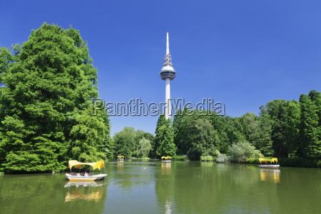 boat trip at kutzenweiher lake luisenpark