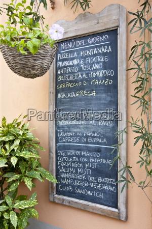 chalkboard menu for restaurant enoteca baldi