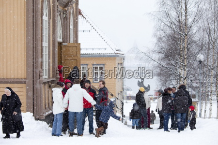 locals attend sunday mass at catholic