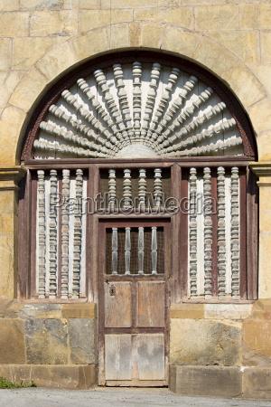 ornate doorway in cabezon de liebana