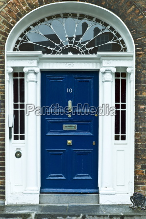 stylish front door of georgian townhouse