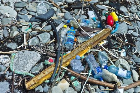 plastic detritis and debris litter the