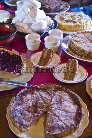 home baked cakes and tarts at