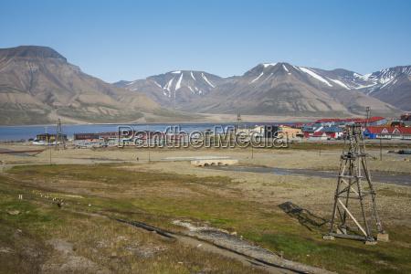 view over longyearbyen spitsbergen svalbard arctic