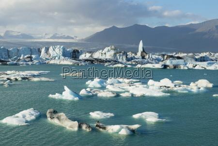 glacier vatnajokull and iceberg in the