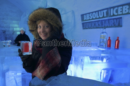 woman with red vodka drink in