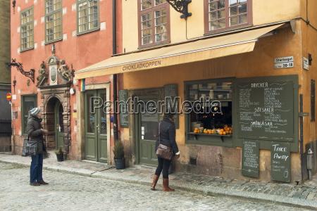 street scene in gamla stan historic