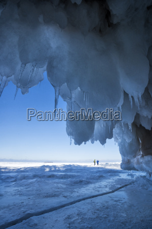 icy blue formations framing the entrance