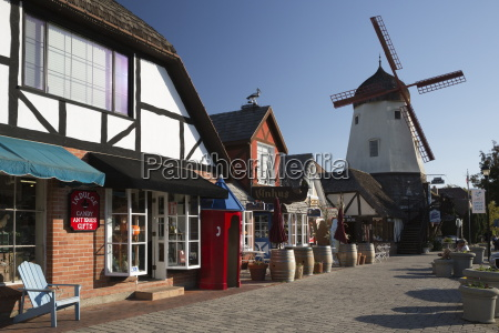 danish styled street and windmill solvang