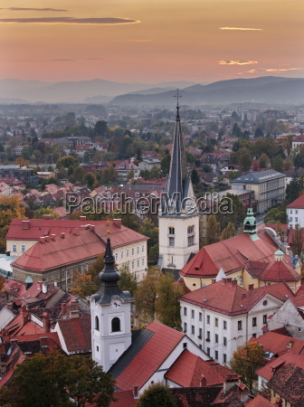 sunset over the city of ljubljana