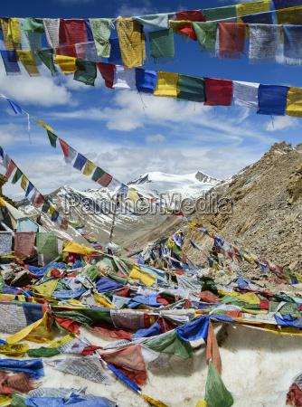 prayer flags at khardung la mountain