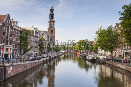 wester kerk church and prinsengracht canal