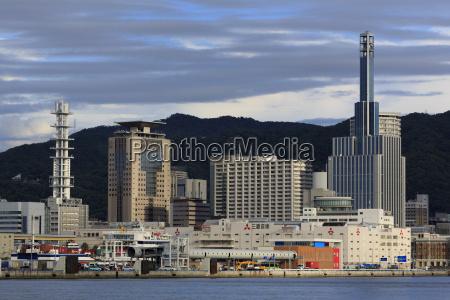 skyline kobe city honshu island japan