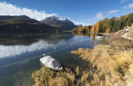 colorful woods reflected in lake sils