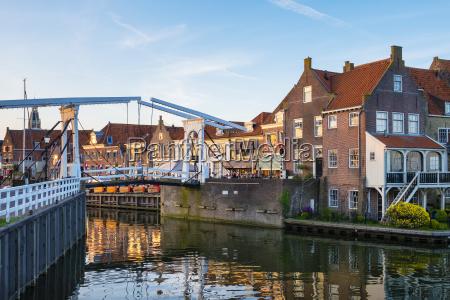 drawbridge and historic houses at the