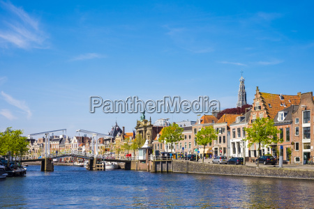 buildings along the spaarne river with