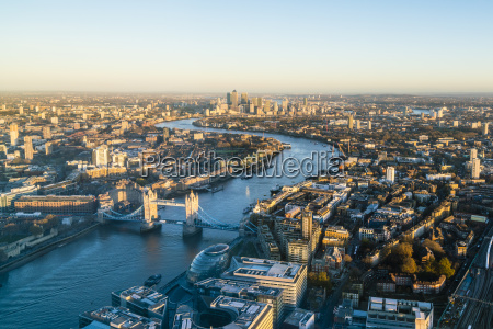 high view of london skyline along