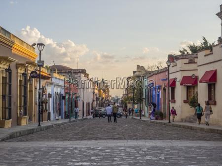 evening street scene oaxaca mexico north