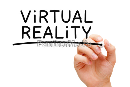 virtual reality handwritten with black marker