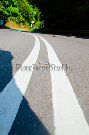 empty road with reflectors in tropic