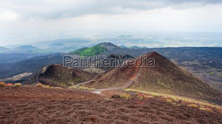 volcanic landascape on mount etna