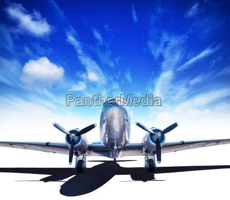 vintage aircraft against a blue sky