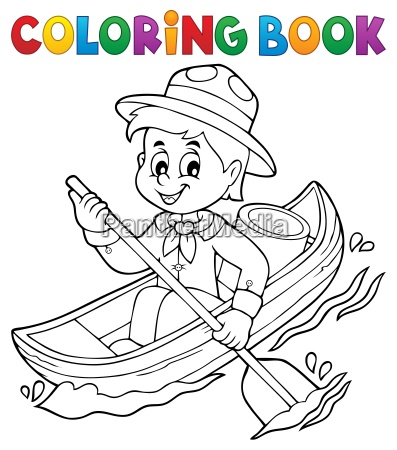 coloring book water scout boy theme