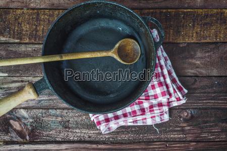 empty black cast iron frying pan
