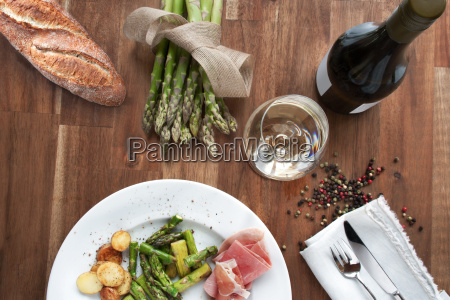 still life with asparagus and wine