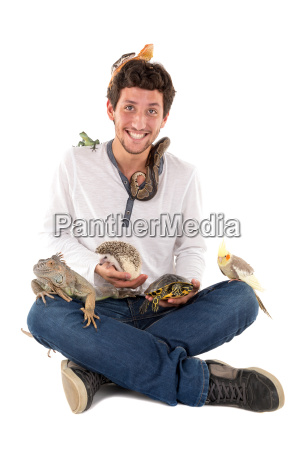 young man with pets
