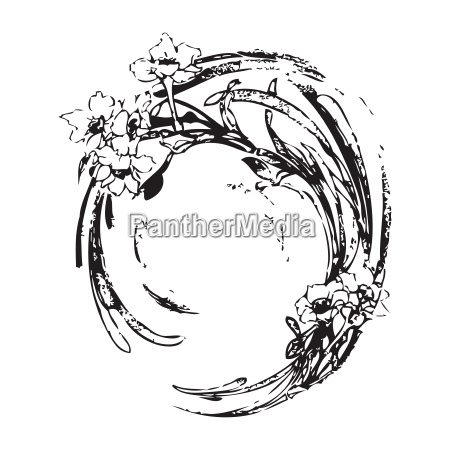 hand drawing vintage circle wave with